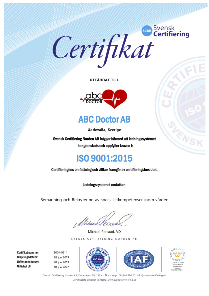 Certifikat ISO 9001 ABC Doctor AB